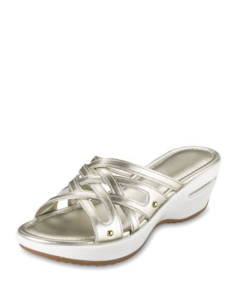 Air Ezra Strappy Wedge, White Gold