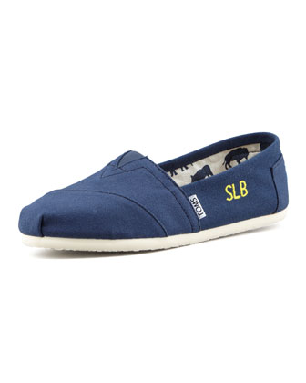 Monogrammed Classic Canvas Slip On, Navy
