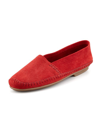 Davies Topstitched Moccasin, Red