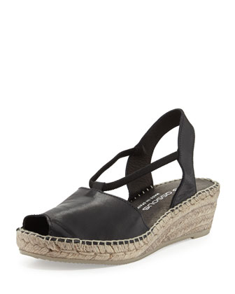 Dainty Leather Slip-On Espadrille Wedge, Black
