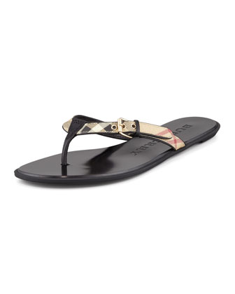 Check Leather Flip-Flop, Black