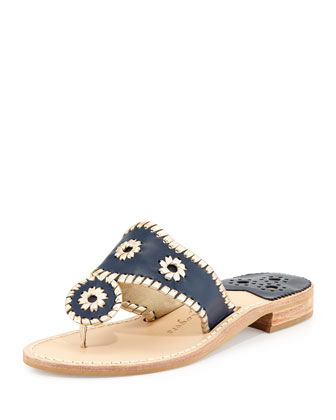 Palm Beach Whipstitch Thong Sandal, Navy/Platinum
