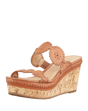 Leigh Cork Wedge Slide, Tan