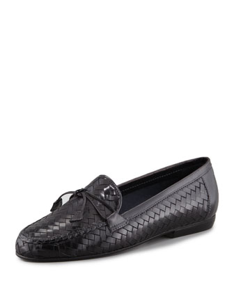 Nancy Woven Leather Tassel Flat Loafer, Black