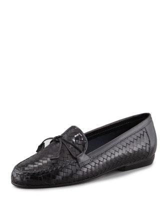 Nancy Woven Leather Tassel Flat Loafer, Black