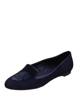 Alexander McQueen Embroidered Sequined Skull Smoking Slipper, Navy