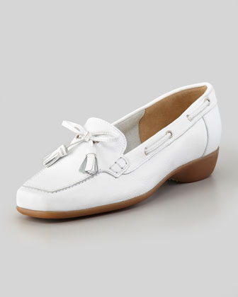 Echo Rubber-Heel Tassel Loafer, White