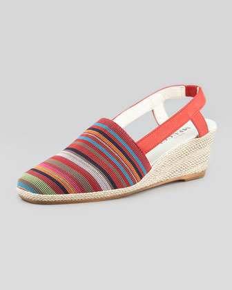 Mona Striped Crochet Espadrille, Red
