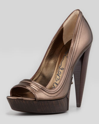 Blade-Heel Metallic Peep-Toe Pump