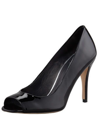 Stylish Peep-Toe Pump, Black