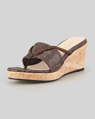 Keely Braided Cork Wedge Sandal, Black