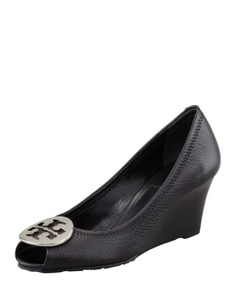 Sally 2 Leather Wedge Pump, Black/Silver