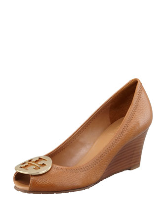 Sally 2 Leather Wedge Pump, Tan/Gold