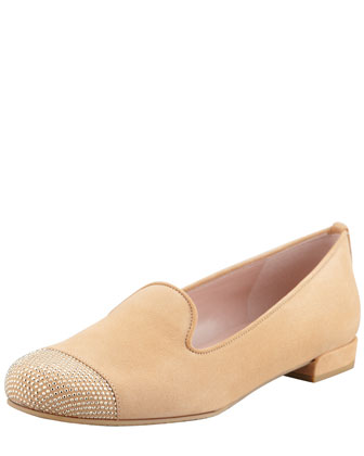 Lingo Nubuck Stud Detail Smoking Slipper, Tan