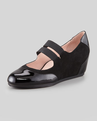 Danelle Low-Wedge Mary Jane, Black