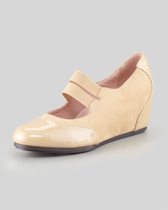 Danelle Low-Wedge Mary Jane, Beige