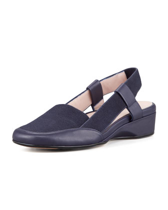 Linen Low-Wedge Slingback, Navy
