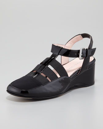 Renee Patent Low-Wedge Sandal, Black