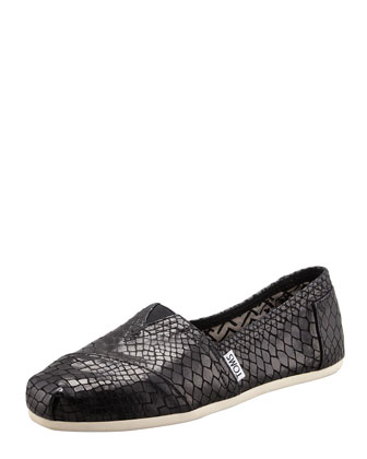 Serpentine Leather Slip-On, Black