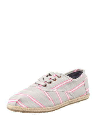 Cordones Striped Canvas Oxfords, Pink