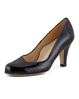 Anyi Lu Emily Low Heel Patent Leather Pump, Black
