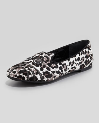 Leopard-Print Cat Loafer, Gray