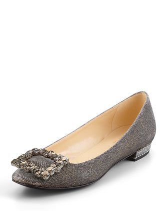 norella crystal-buckle metallic flat