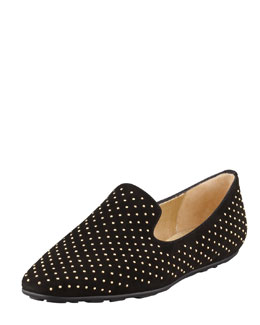Jimmy Choo Wheel Studded Suede Smoking Slipper