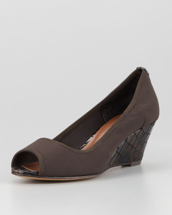 Molly Stretch Crepe Wedge Pump, Espresso/Bronze