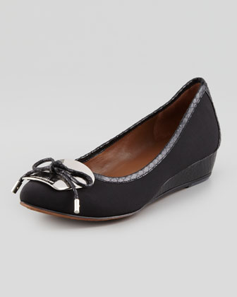 Nice Snake-Trim Stretch Crepe Micro Wedge, Black