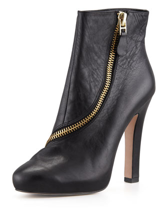 Candy Zip-Trim Leather Bootie