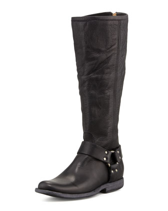 Phillip Tall Harness Boot, Black