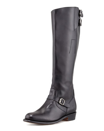 Dorado Polished Leather Riding Boot, Black