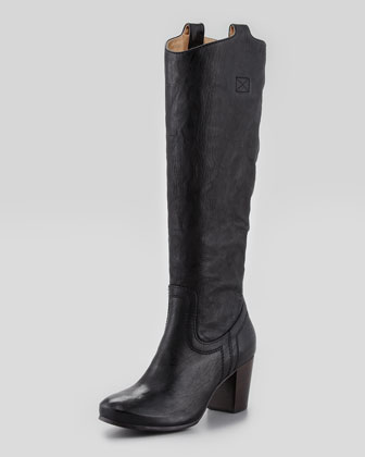 Casron Mid-Heel Tabbed Tall Boot, Black