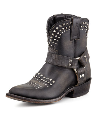 Billy Short Studded Biker Boot, Black