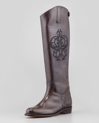 Polished Embroidered Riding Boot, Smoke