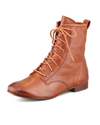 Jillian Leather Lace-Up Boot, Whiskey
