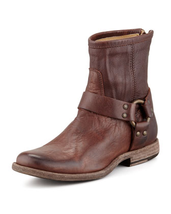 Phillip Short Harness Boot, Dark Brown