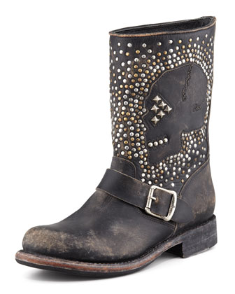 Jenna Studded Skull Boot, Black