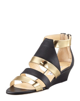 Jimmy Choo Brook Low-Wedge Matte-Metallic Sandal