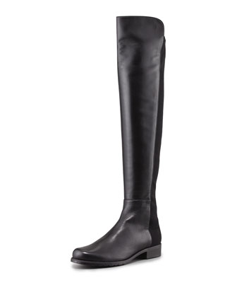 50/50 Narrow Napa Stretch Over-the-Knee Boot, Black (Made to Order)