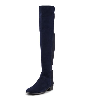 50/50 Suede Stretch Over-the-Knee Boot, Nice Blue (Made to Order)