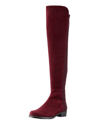 50/50 Suede To-the-Knee Boot, Bordeaux (Made to Order)
