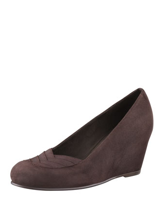 Timelines Suede & Grosgrain Wedge, Cola