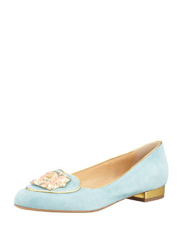 Charlotte Olympia Birthday Gemini Zodiac Smoking Slipper, Sky Blue