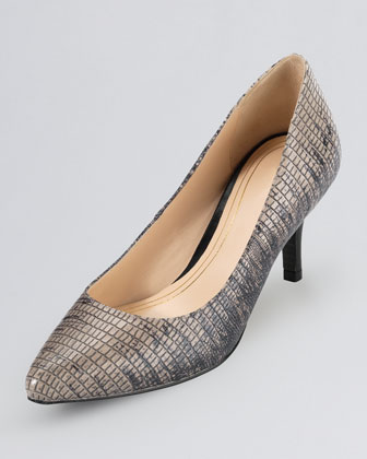 Chelsea Lizard-Print Leather Pump, Black/Tan