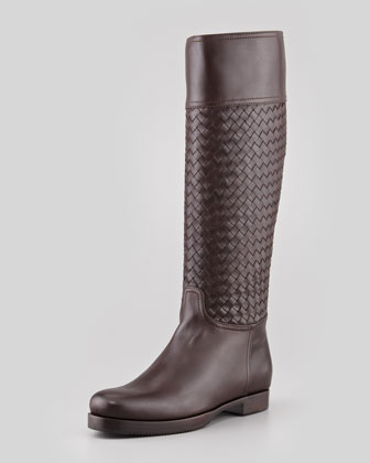 Woven Leather Knee Boot, Espresso