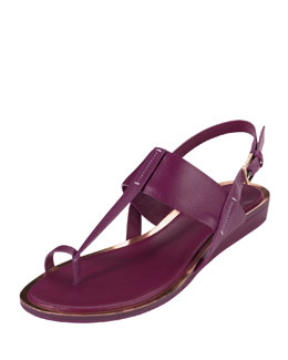 Cole Haan Pelham Flat Leather Sandal, Winery