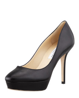 Jimmy Choo Aster Leather Low-Ranger Pump, Black