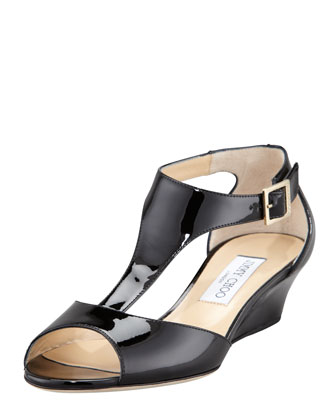 Treat T-Strap Wedge, Black